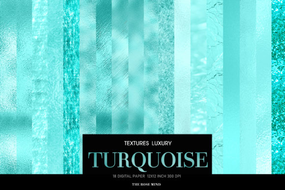 Print on Demand: Digital Papers Turquoise Graphic Textures By TheRoseMind