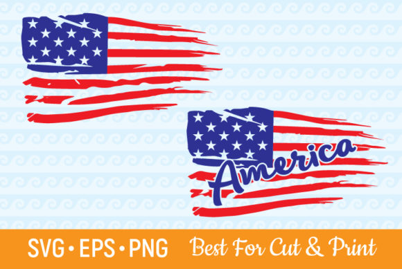 Download Free Distressed American Flag 4th Of July Graphic By Olimpdesign for Cricut Explore, Silhouette and other cutting machines.
