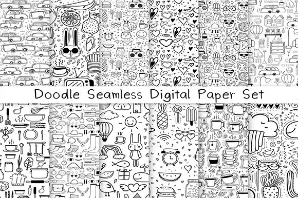 Doodle Seamless Digital Paper Graphic Patterns By OneyWhyStudio - Image 1