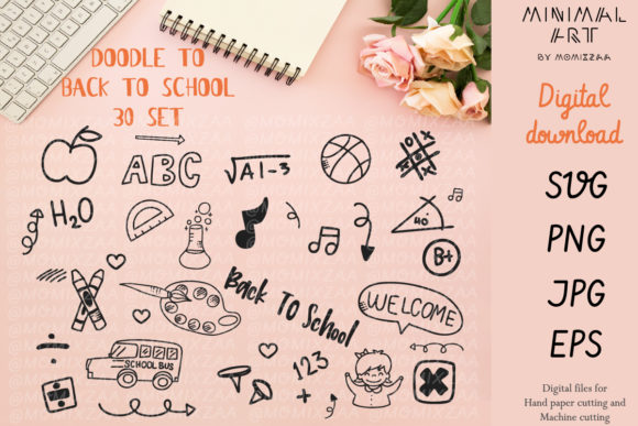 Download Free Doodles Back To School 30 Designs Bundle Graphic By Momixzaa for Cricut Explore, Silhouette and other cutting machines.