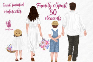 Print on Demand: Family Clipart Parents with Kids Flowers Graphic Illustrations By LeCoqDesign