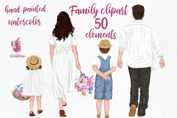 Family Clipart Parents with Kids Flowers Graphic Illustrations By LeCoqDesign