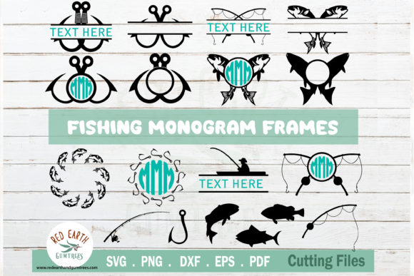 Download Free Fishing Monogram Frames Bundle Graphic By Redearth And Gumtrees for Cricut Explore, Silhouette and other cutting machines.
