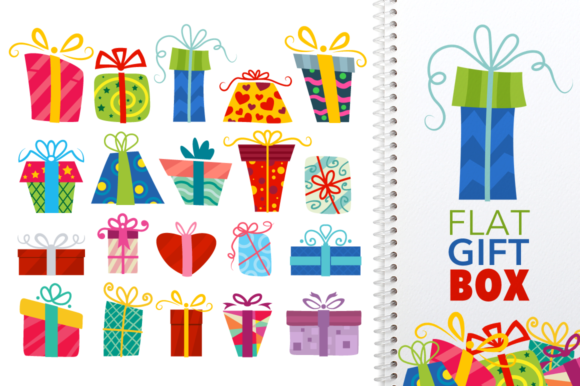 Download Free Flat Gift Box Set Graphic By Pixaroma Creative Fabrica for Cricut Explore, Silhouette and other cutting machines.
