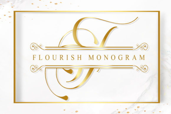 Print on Demand: Flourish Monogram Manuscrita Fuente Por Doehantz Studio