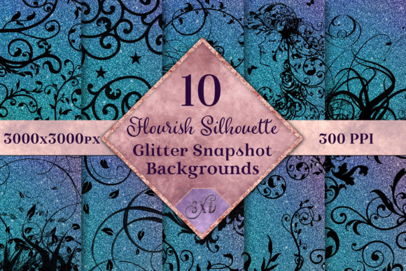 Print on Demand: Flourish Silhouette Glitter Backgrounds Graphic Backgrounds By SapphireXDesigns