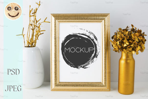 Print on Demand: Frame Mockup with Golden Decor Graphic Product Mockups By TasiPas
