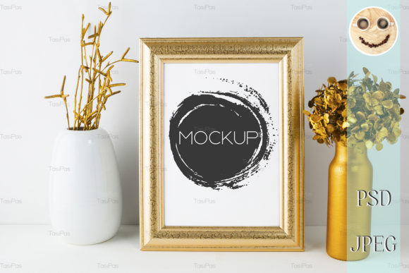 Print on Demand: Frame Mockup with Golden Decor Graphic Product Mockups By TasiPas - Image 2