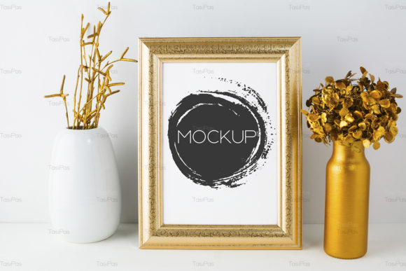 Print on Demand: Frame Mockup with Golden Decor Graphic Product Mockups By TasiPas - Image 3