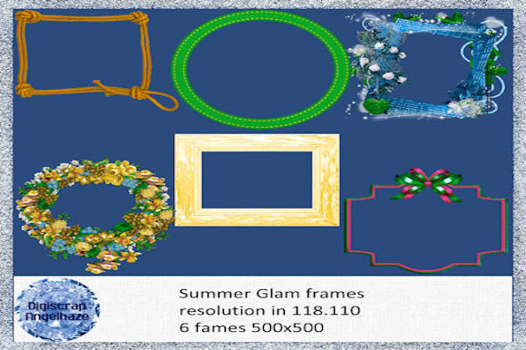Print on Demand: Frames Summer Glam Grafik Web-Elemente von Digiscrap Angelhaze