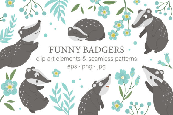 Funny Badgers Graphic Illustrations By lexiclaus