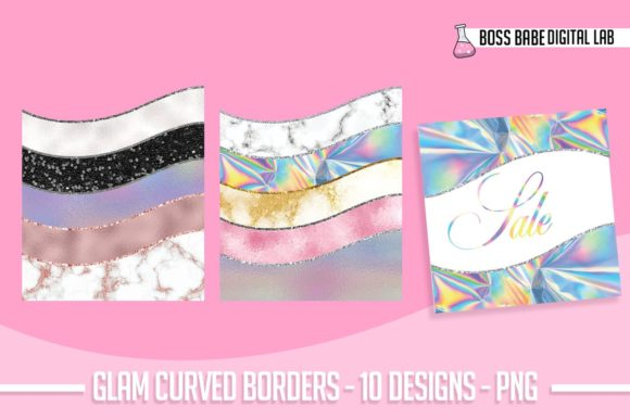 Print on Demand: Glam Curved Border Clipart Graphic Objects By bossbabedigitallab