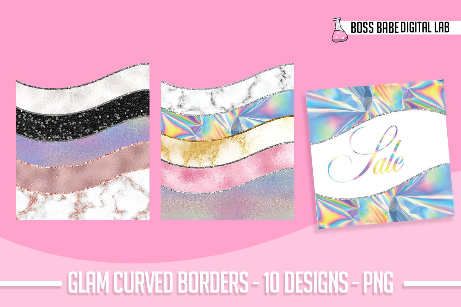 Download Free Glam Curved Border Clipart Graphic By Bossbabedigitallab Creative Fabrica for Cricut Explore, Silhouette and other cutting machines.