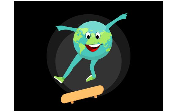 Download Free Go Skateboarding Day Earth Skates Flat Graphic By Redvy for Cricut Explore, Silhouette and other cutting machines.