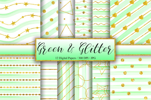 Download Free Green Gold Glitter Background Graphic By Pinkpearly Creative for Cricut Explore, Silhouette and other cutting machines.