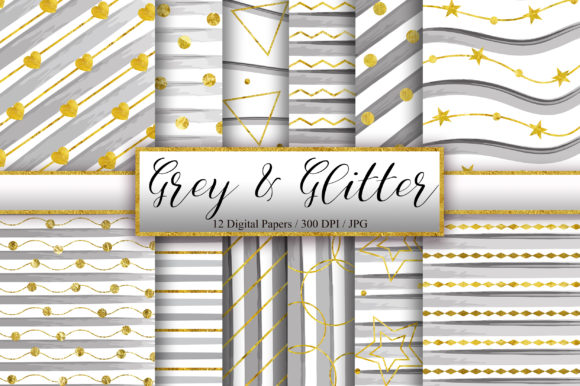 Download Free Grey Gold Glitter Background Graphic By Pinkpearly Creative for Cricut Explore, Silhouette and other cutting machines.