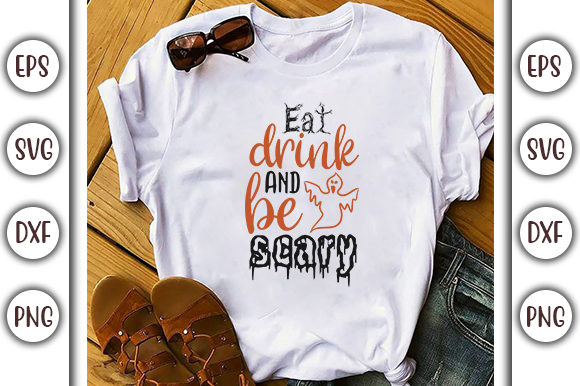 Download Free Halloween Quotes Design Eat Drink Graphic By Graphicsbooth for Cricut Explore, Silhouette and other cutting machines.