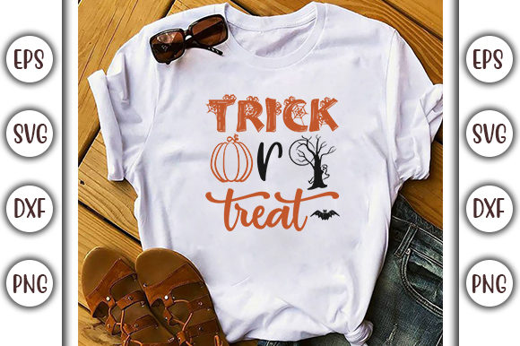 Print on Demand: Halloween Quotes Design, Trick or Treat Graphic Print Templates By GraphicsBooth