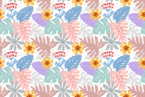 Download Free Hand Drawn Leaf And Flowers Pattern Graphic By Ranger262 for Cricut Explore, Silhouette and other cutting machines.