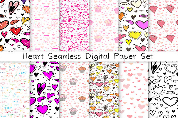 Heart Seamless Digital Paper Graphic Patterns By OneyWhyStudio