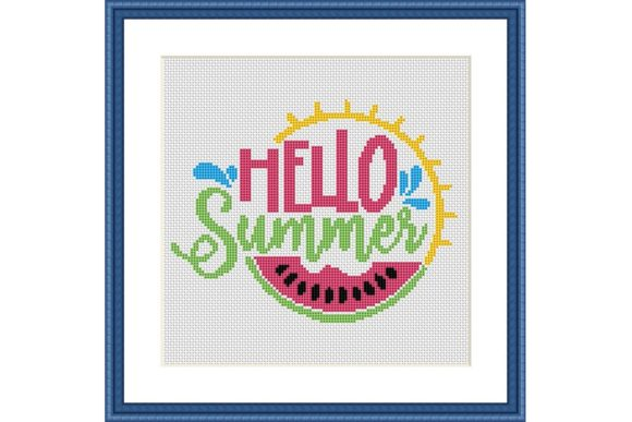 Hello Summer Colorful Cross Stitch Graphic Cross Stitch Patterns By e6702 - Image 1