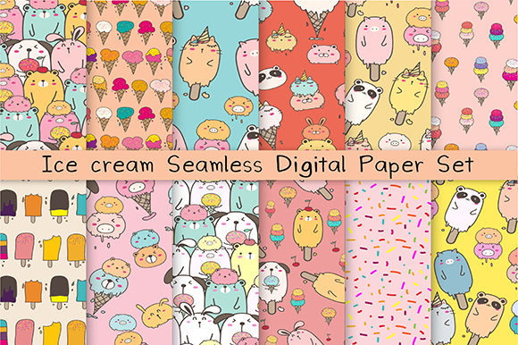 Ice Cream Seamless Digital Paper Graphic Patterns By OneyWhyStudio