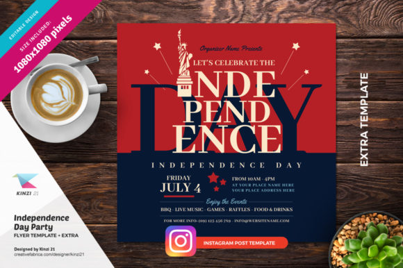 Download Free Independence Day Party Flyer Template Graphic By Kinzi21 for Cricut Explore, Silhouette and other cutting machines.