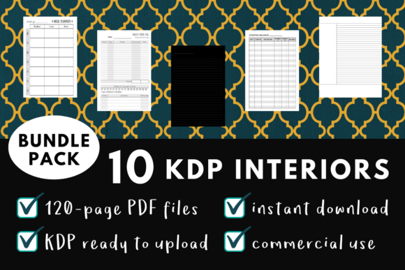 Print on Demand: KDP Interior Pack 1 - 10 Templates Gráfico Páginas KDP Por mothmos