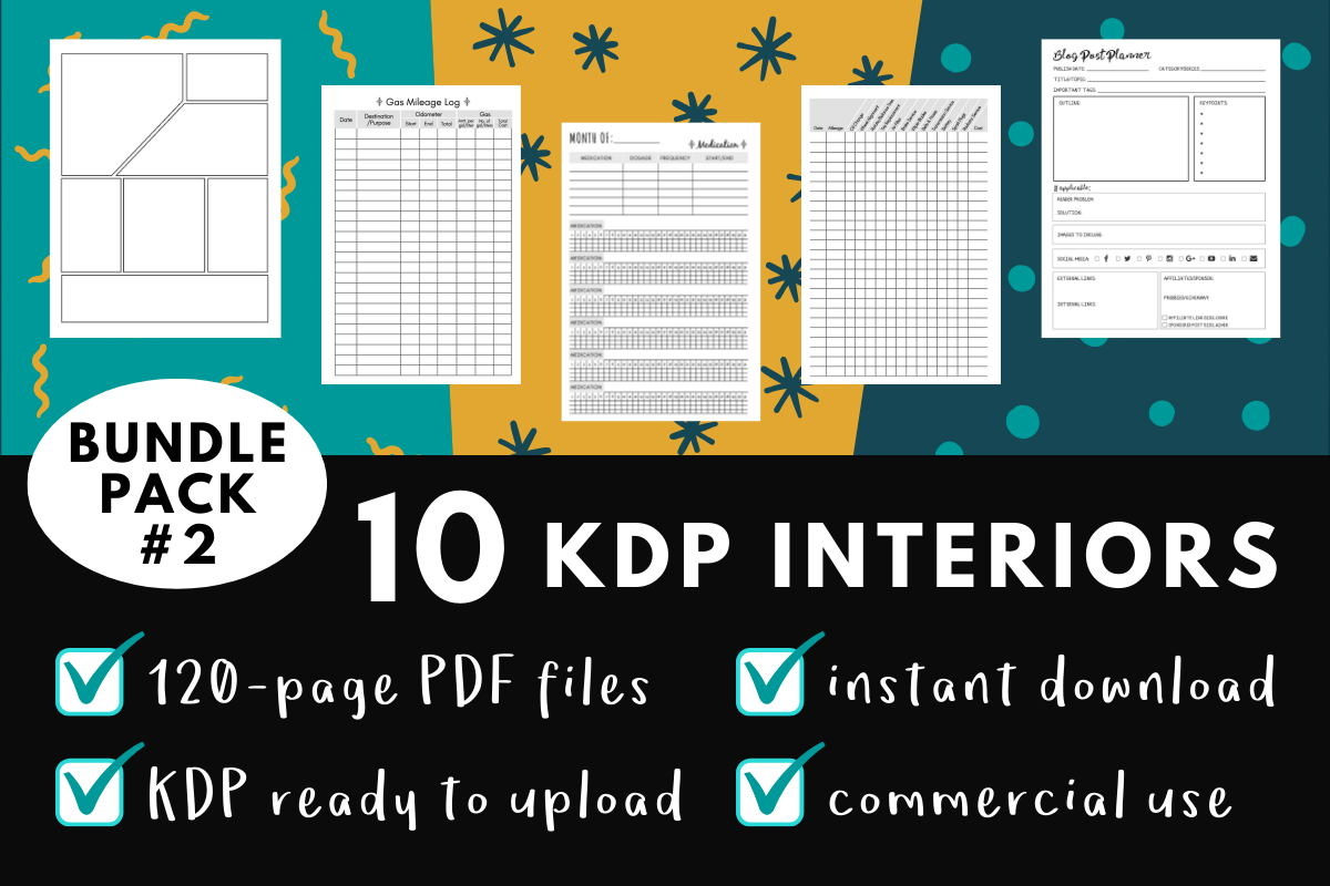 Download Free Kdp Interior Pack 2 10 Templates Graphic By Mothmos Creative Fabrica for Cricut Explore, Silhouette and other cutting machines.