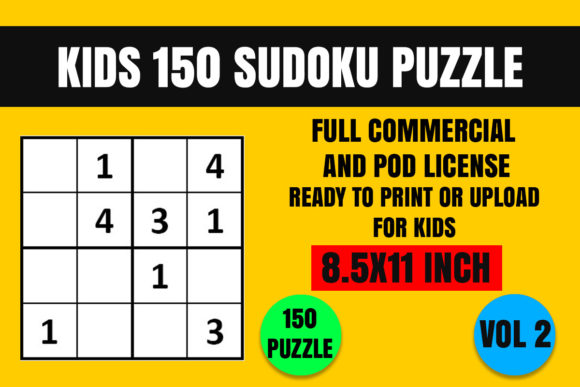 Print on Demand: Kids 150 Sudoku Puzzle Book(4x4) Vol. 2 Grafik Ausmalseiten & Malbücher für Kinder von Creative_Design