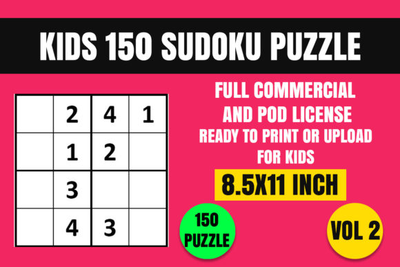 Print on Demand: Kids 150 Sudoku Puzzle Book(4x4) Vol. 2 Graphic Coloring Pages & Books Kids By Creative_Design - Image 1