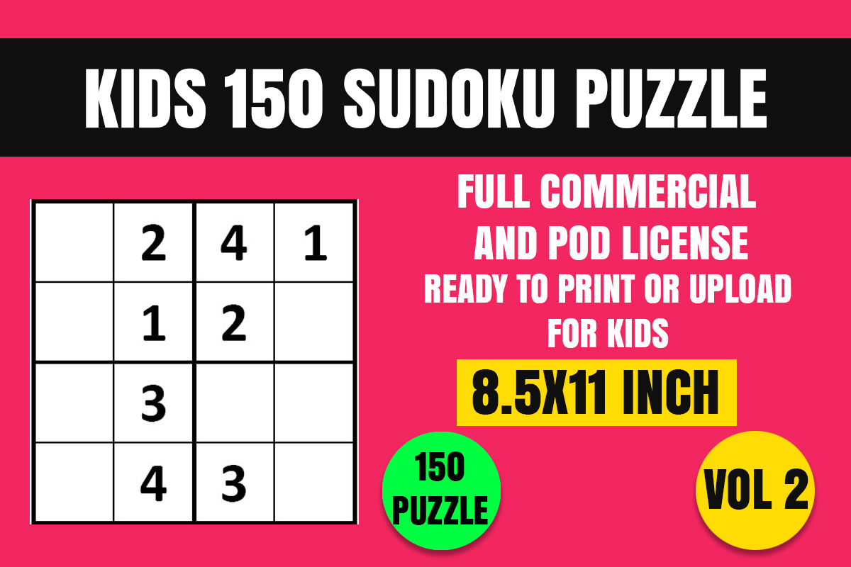 Download Free Kids 150 Sudoku Puzzle Book 4x4 Vol 2 Graphic By for Cricut Explore, Silhouette and other cutting machines.