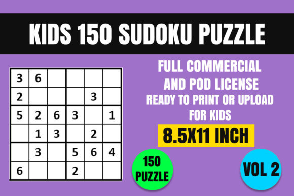 Print on Demand: Kids 150 Sudoku Puzzle Book(6x6) Vol. 2 Graphic Coloring Pages & Books Kids By Creative_Design - Image 1