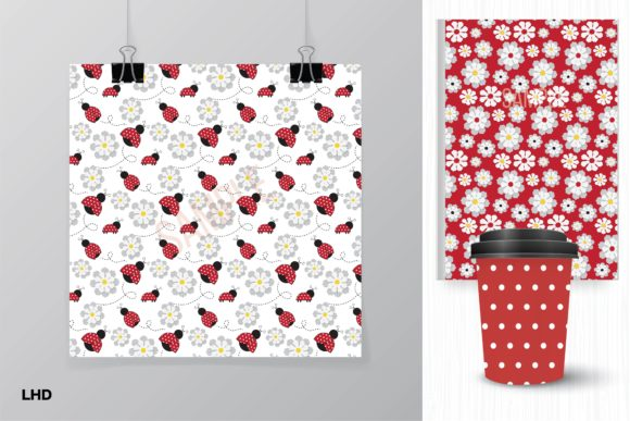Download Free Ladybug Digital Paper Patterns Graphic By Leskahamatydesign for Cricut Explore, Silhouette and other cutting machines.