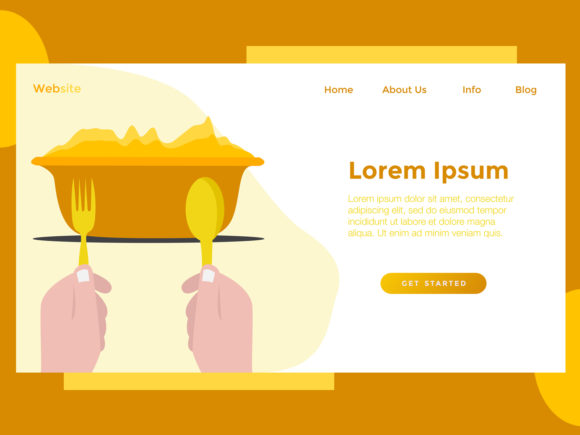 Print on Demand: Landing Page Food Bowl Orange Graphic Landing Page Templates By archshape