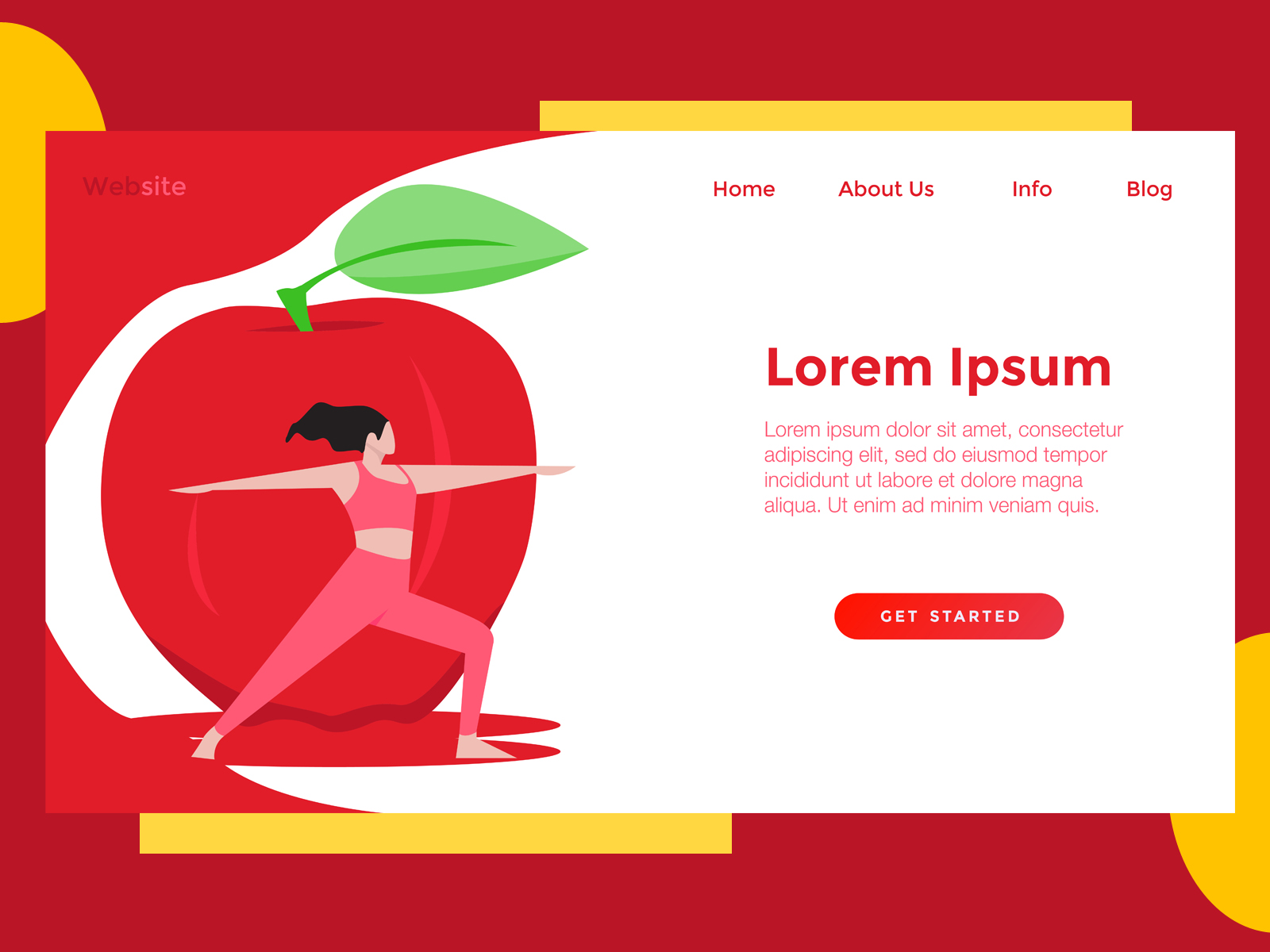Download Free Landing Page Food Red Apple Graphic By Archshape Creative Fabrica for Cricut Explore, Silhouette and other cutting machines.