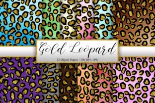 Print on Demand: Leopard Gold Glitter Background Graphic Backgrounds By PinkPearly