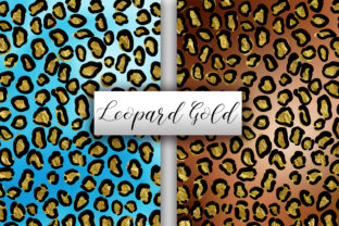 Print on Demand: Leopard Gold Glitter Background Graphic Backgrounds By PinkPearly 2