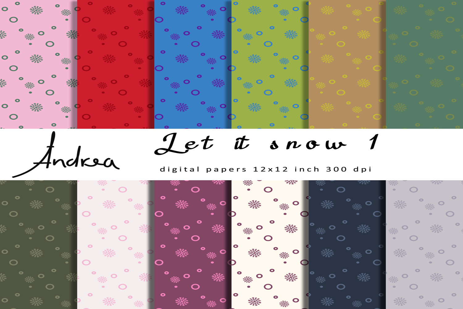 Download Free Let It Snow 1 Digital Papers Graphic By Andrea Kostelic for Cricut Explore, Silhouette and other cutting machines.