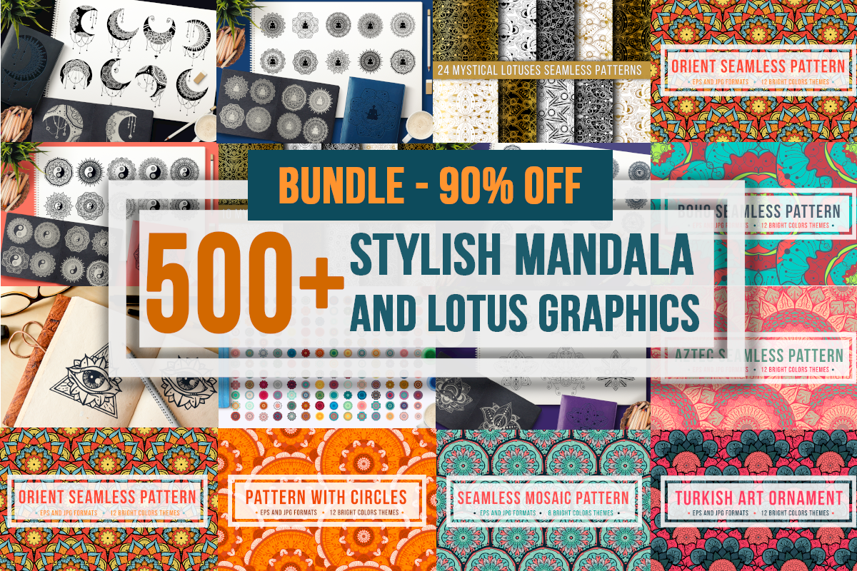 Download Free Mandala And Lotus Bundle Bundle Creative Fabrica for Cricut Explore, Silhouette and other cutting machines.