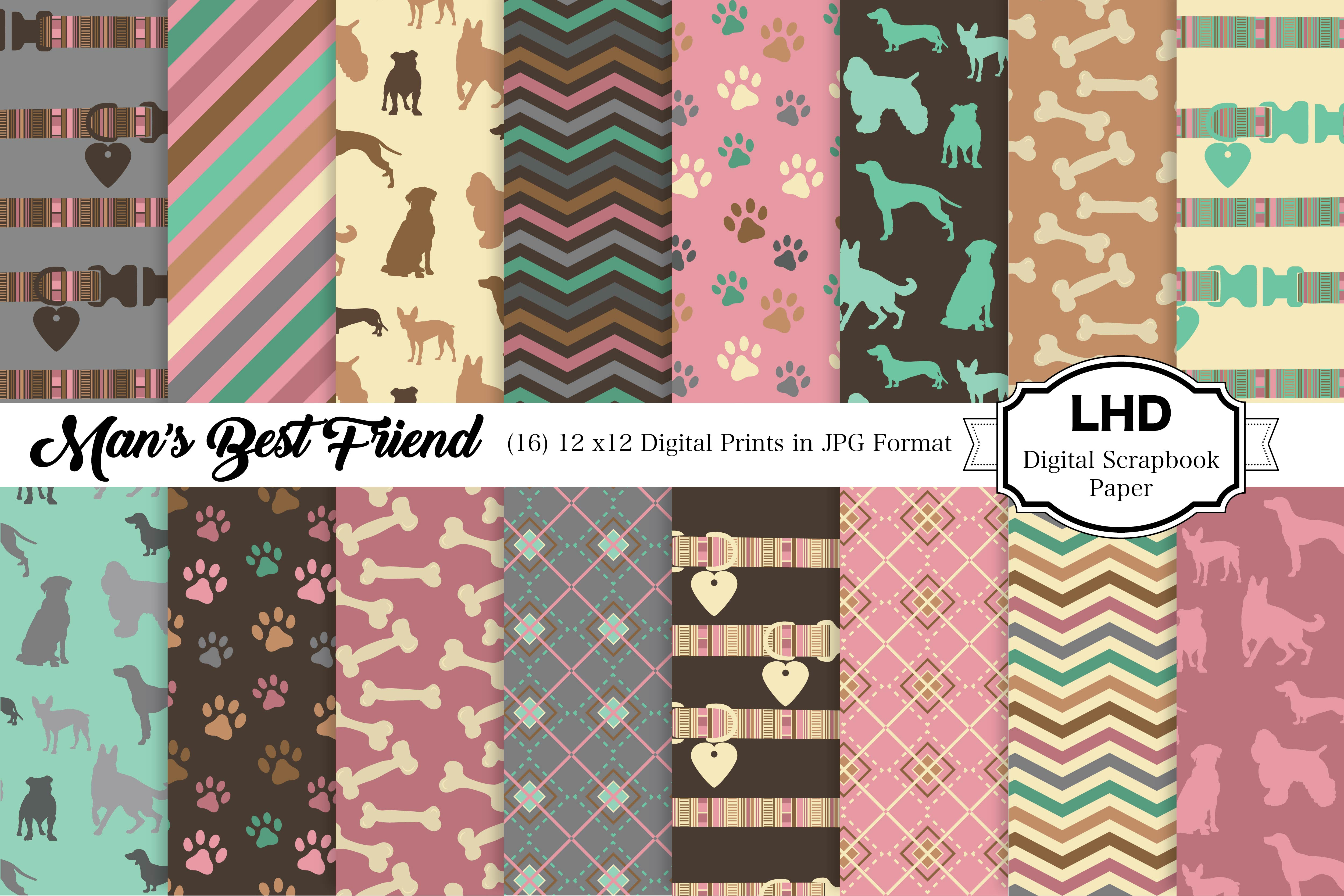 Download Free Man S Best Friend Dog Digital Paper Graphic By for Cricut Explore, Silhouette and other cutting machines.