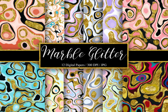 Marble Gold Glitter Background Graphic Backgrounds By PinkPearly
