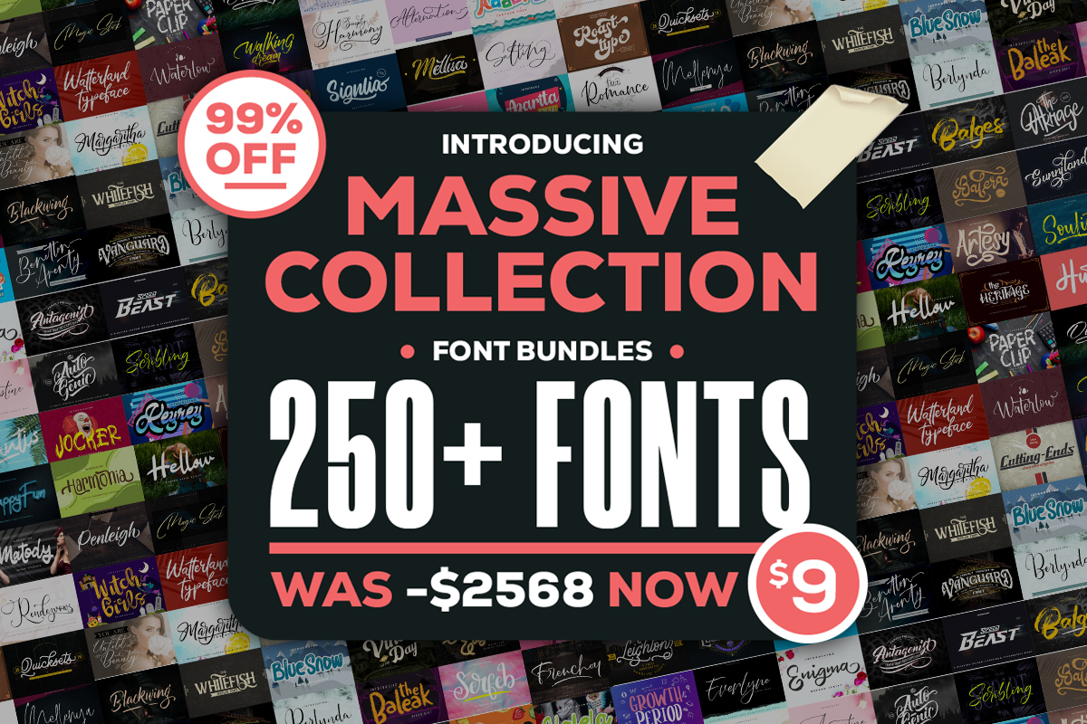 Download Free Massive Collection Fonts Bundle Bundle Creative Fabrica for Cricut Explore, Silhouette and other cutting machines.