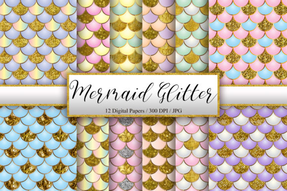 Mermaid Scales Glitter Background Graphic Backgrounds By PinkPearly - Image 1