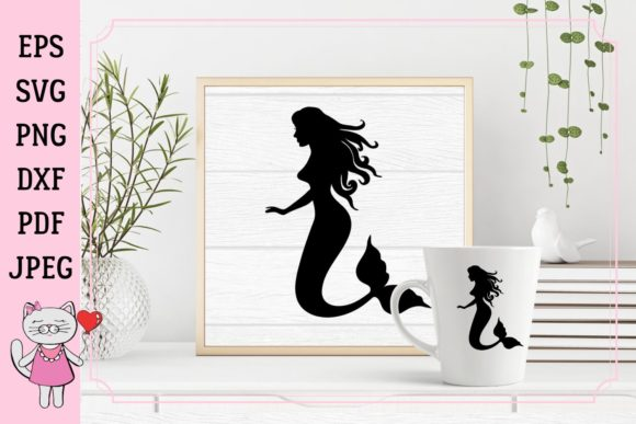 Mermaid Silhouette Graphic Illustrations By  Magic world of design