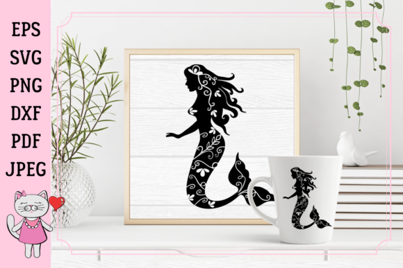Download Free Mermaid Silhouette Graphic By Magic World Of Design Creative for Cricut Explore, Silhouette and other cutting machines.