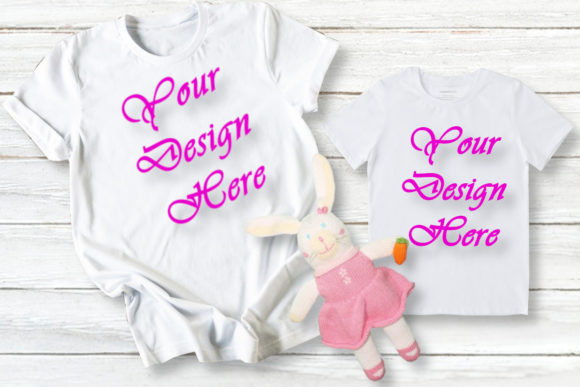 Mock Up Family T-shirts, Mom / Daughter Graphic Product Mockups By Mockup Shop