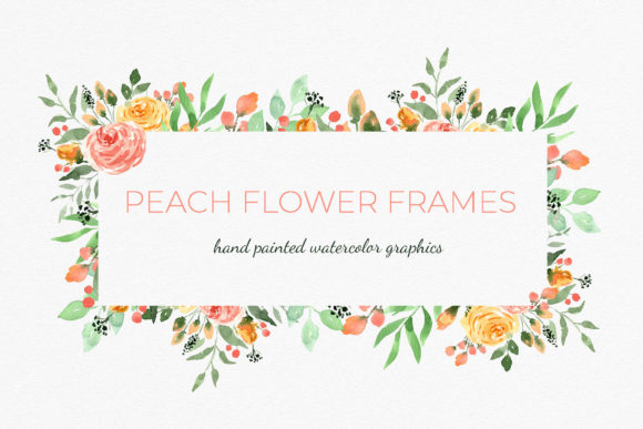 Peach and Blush Geometric Flower Frames Gráfico Ilustraciones Por RedDotsHouse