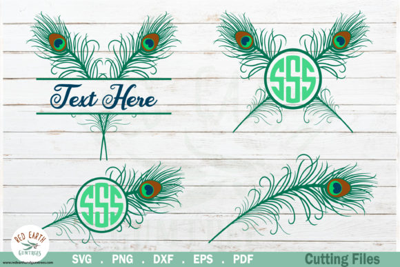 Download Free Peacock Feather Monograms Bundle Graphic By Redearth And for Cricut Explore, Silhouette and other cutting machines.