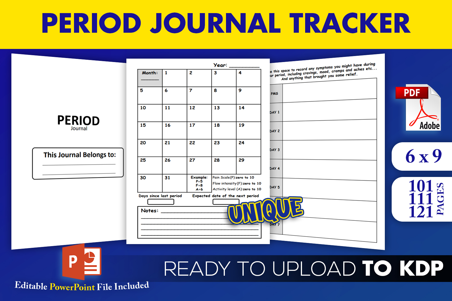 Download Free Period Journal Tracker Log Kdp Interior Graphic By Beast for Cricut Explore, Silhouette and other cutting machines.